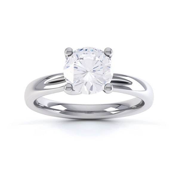 Sway twist diamond engagement ring with double shoulder detail top view in white gold