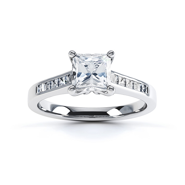 Fliss 4 claw Princess cut diamond engagement ring diamond shoulders top view in white gold
