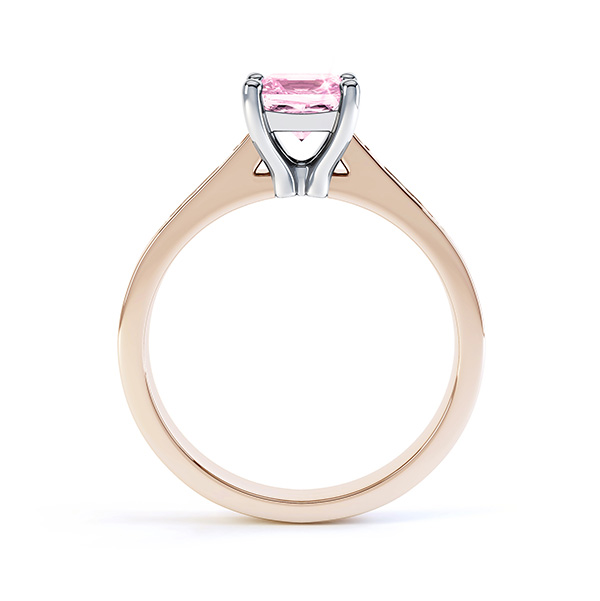Pink Fliss Princess diamond engagement ring with diamond shoulders rose gold pink sapphire side view