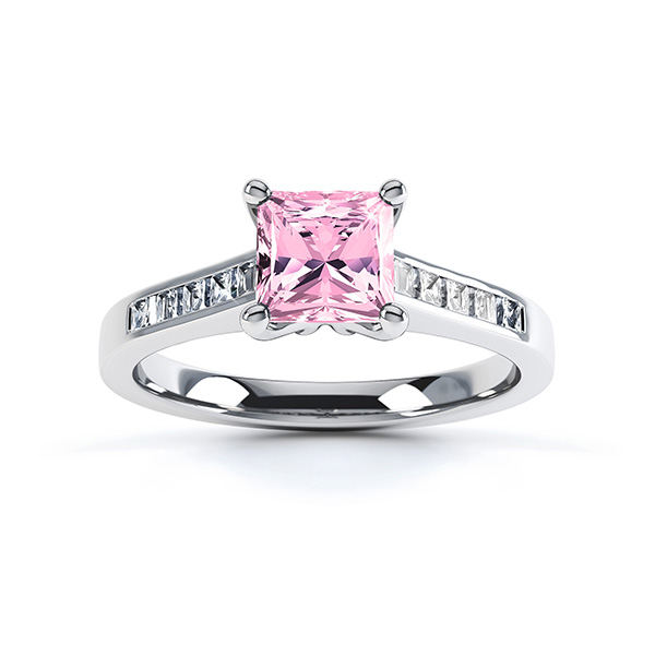 Pink Fliss Princess diamond engagement ring with diamond shoulders white gold pink sapphire top view