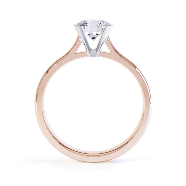Fluted Part Engagement Ring with High Setting Side View Rose Gold