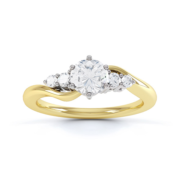 Lyra 5 stone diamond engagement ring top view in yellow gold showing twisted shoulders