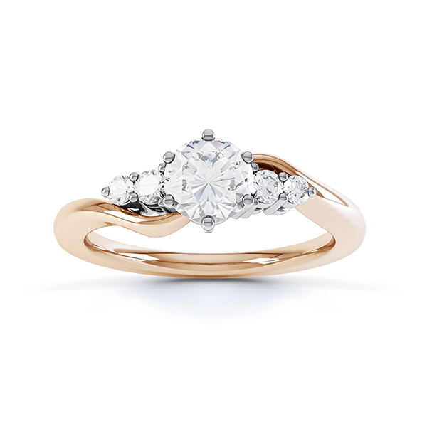 Lyra 5 stone diamond engagement ring top view in rose gold showing twisted shoulders