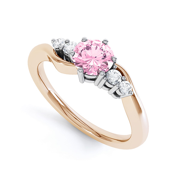 Tickled Pink Engagement Ring Rose Gold Perspective View