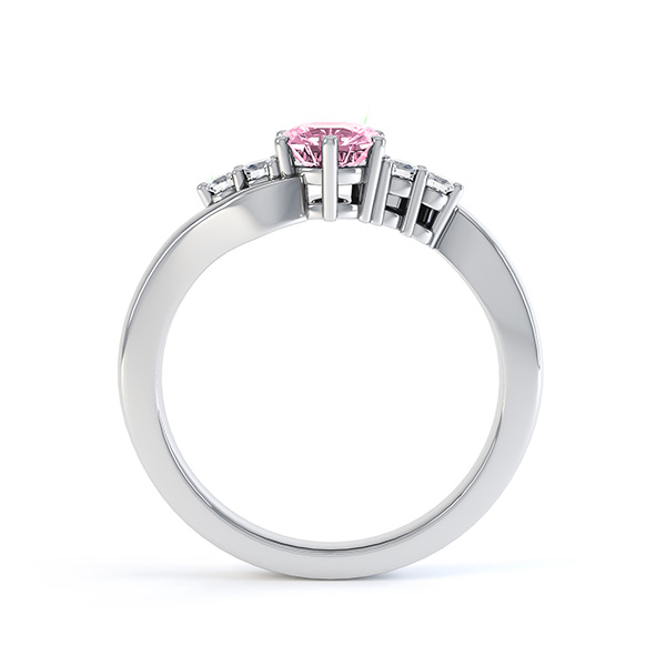 Tickled Pink Sapphire Diamond Engagement Ring White Gold Side View
