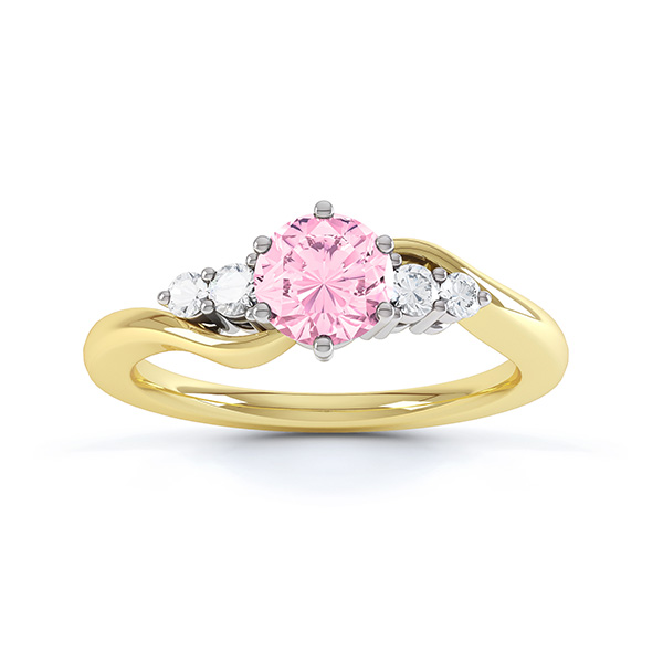 Tickled Pink Sapphire Diamond Engagement Ring Yellow Gold Top View