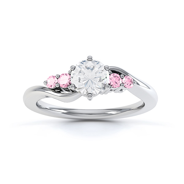 Fuschia pink sapphire and diamond 5 stone engagement ring white gold top view