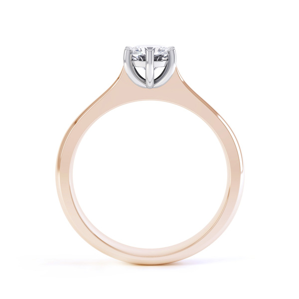 6 Claw Diamond Engagement Ring with Basket Setting Side View In Rose Gold