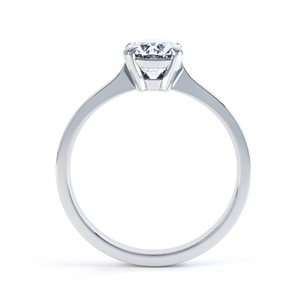 4 Claw Oval Solitaire Diamond Engagement Ring Side View In White Gold