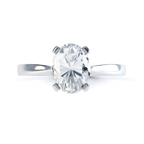 4 Claw Oval Solitaire Diamond Engagement Ring Front View