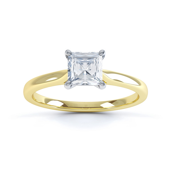 4 Prong Princess Engagement Ring Wedfit Setting Front View In Yellow Gold