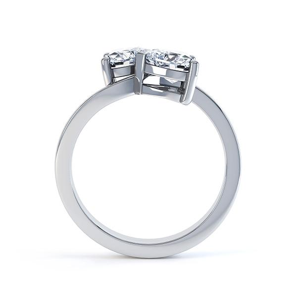 Josephine 2 stone heart shaped diamond engagement ring side view white gold