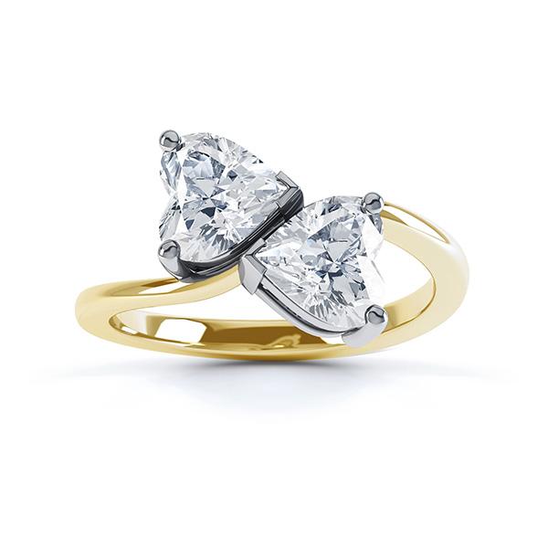 Josephine 2 stone heart shaped diamond engagement ring top view yellow gold