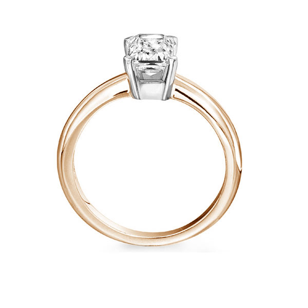 Ultramodern 4 Claw Emerald Diamond Solitaire Rose Gold Ring