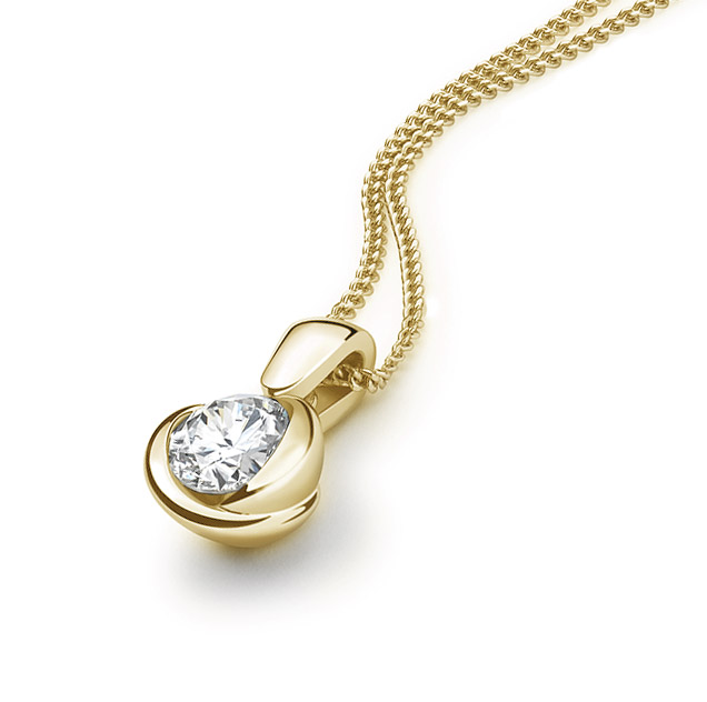 Rosebud diamond pendant in yellow gold