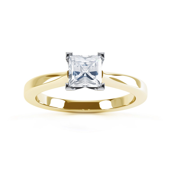 Modern 4 Claw Princess Solitaire Diamond Ring Top View In Yellow Gold