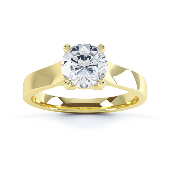 Elegant Round Solitaire with Cross-Over 4 Claw Setting top Yellow