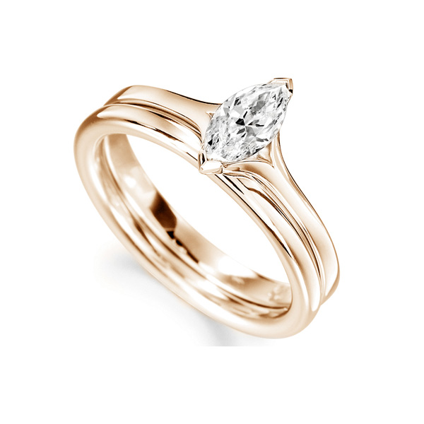 Split Shoulder 2 Claw Marquise Diamond Ring Rose Gold Perspective