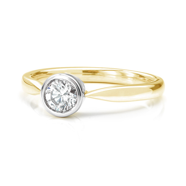 Olivia rub-over diamond solitaire engagement ring yellow gold lying down view