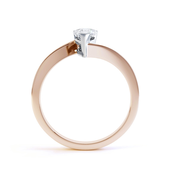 R1D068 Side, Pear shaped Twist Engagement Ring, Rose Gold