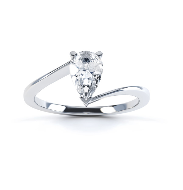 R1D068 Top, Pear shaped Twist Engagement Ring, White Gold