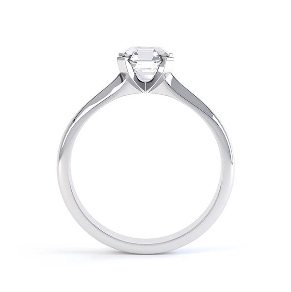 Side view of the Sonnet Asscher cut solitaire engagement ring shown here in white gold