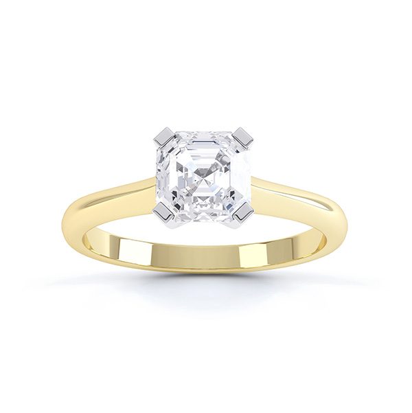 Top view of the Sonnet Asscher cut solitaire engagement ring shown here in Yellow Gold