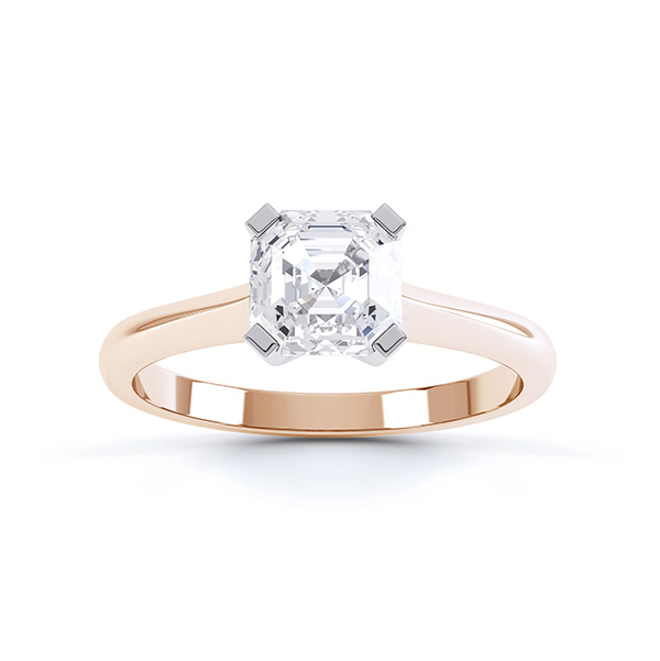 Top view of the Sonnet Asscher cut solitaire engagement ring shown here in Rose Gold