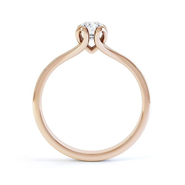 Loop oval solitaire diamond engagement ring side view in rose gold