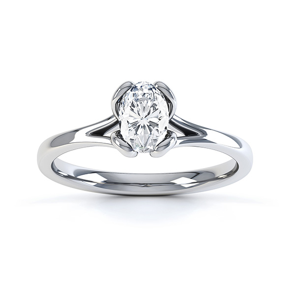 Loop oval solitaire diamond engagement ring side view in white gold