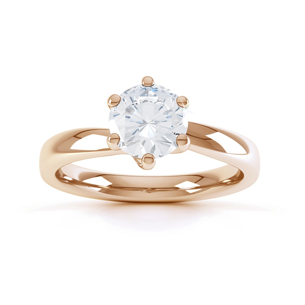 6 Claw Twist Solitaire Diamond ring - Top Rose