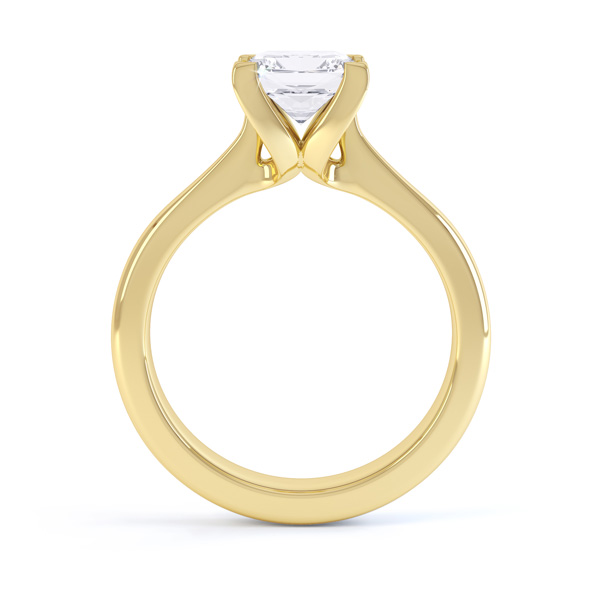 Folded 4 Claw Princess Cut Engagement Ring Side View In Yellow Gold
