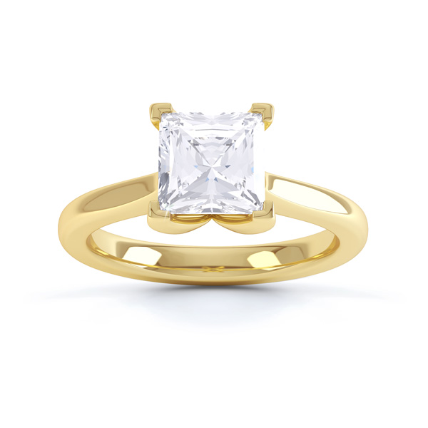 Folded 4 Claw Princess Cut Engagement Ring Front View Yellow Gold