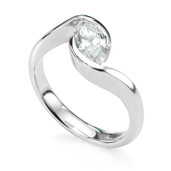 Ursa Marquise diamond solitaire engagement ring fairtrade white gold