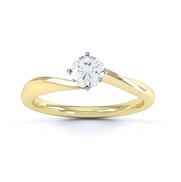 pirouette 4 claw twist compass set engagement ring