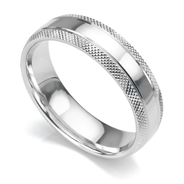 6mm court shaped wedding ring with edges cross-hatch patterned either side of a central polished section in white gold