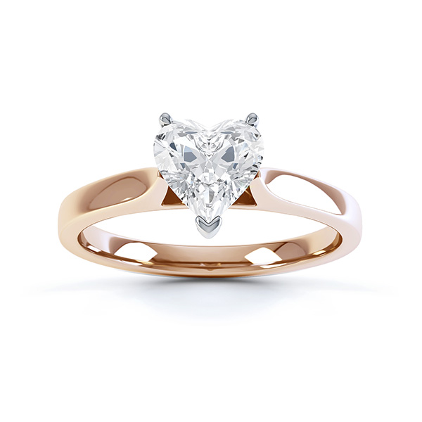 Angel heart shaped solitaire engagement ring rose gold top view