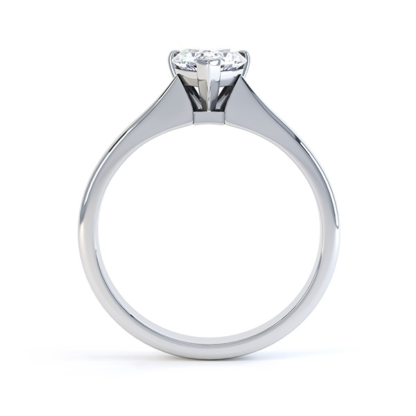 Aphrodite Heart Shaped Diamond Solitaire Engagement Ring White Gold Side View