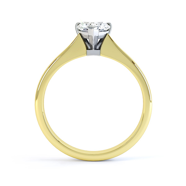 Aphrodite Heart Shaped Diamond Solitaire Engagement Ring Yellow Gold Side View