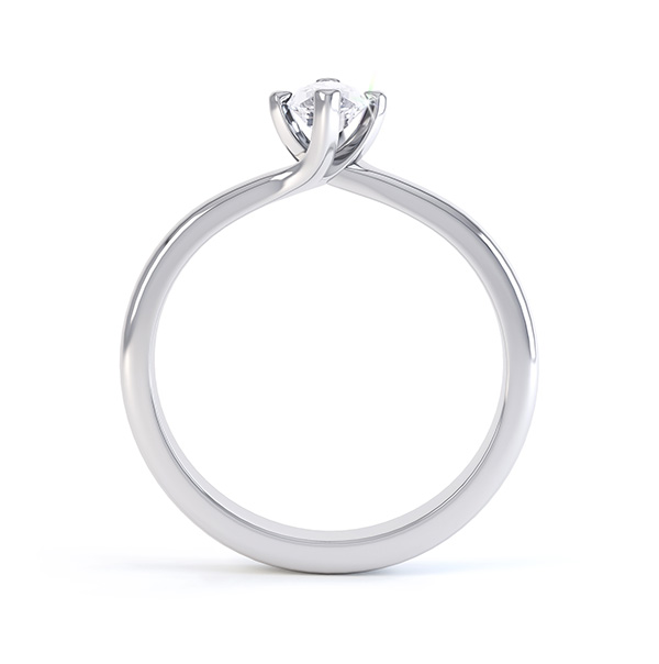 Venice twist marquise solitaire engagement ring side view white gold