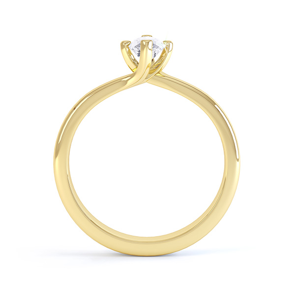 Venice twist marquise solitaire engagement ring side view yellow gold