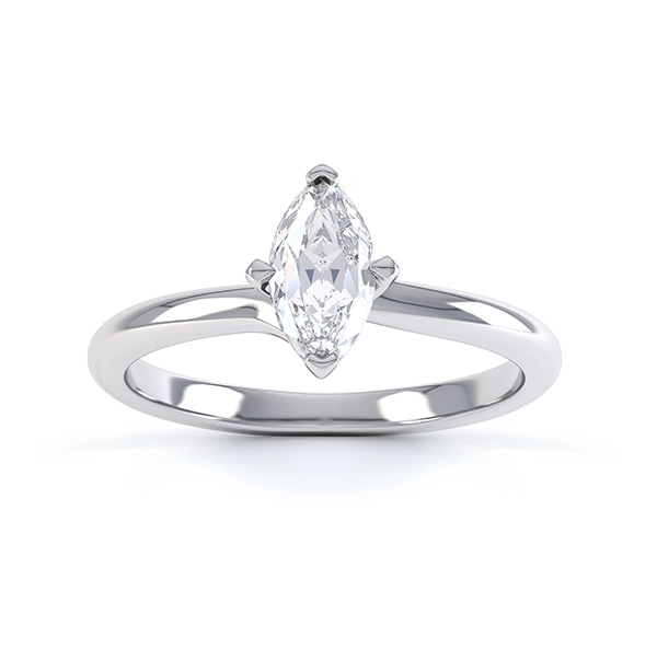 Venice twist marquise solitaire engagement ring top view white gold