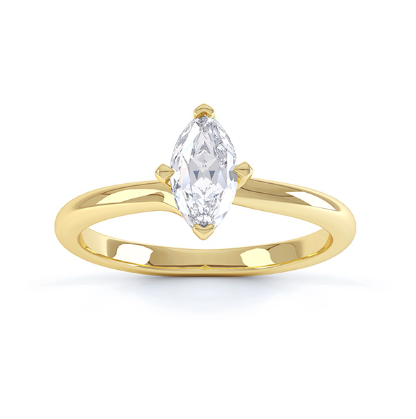 Venice twist marquise solitaire engagement ring top view yellow gold