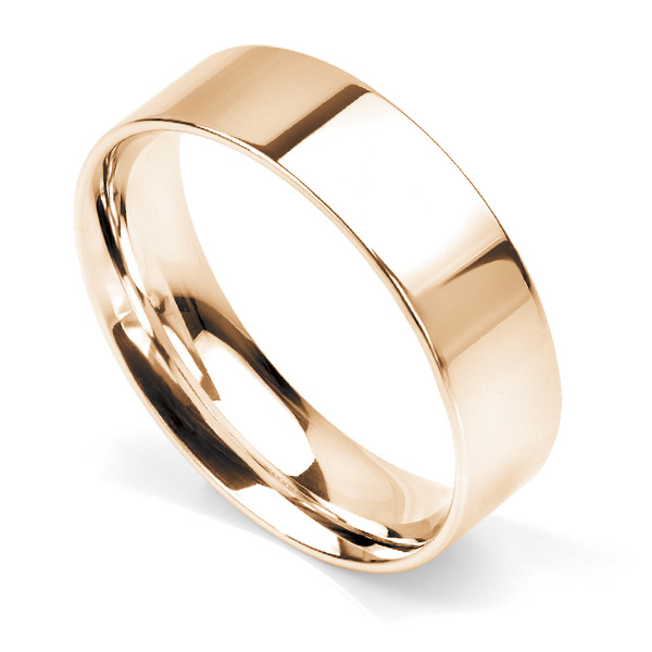 Flat court wedding ring 6mm light weight in Rose Gold