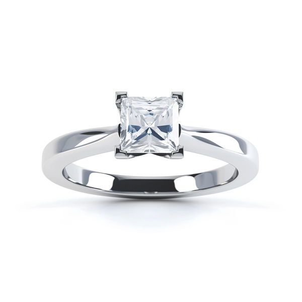 Josephine May, princess cut diamond solitaire - Top stone heart shaped diamond engagement ring top view white gold