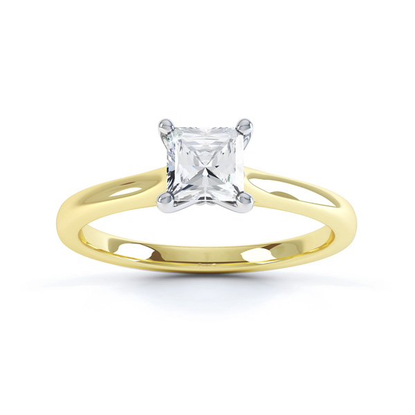 Slim Shoulder 4 Claw Princess Diamond Engagement Ring Top View In Yellow Gold