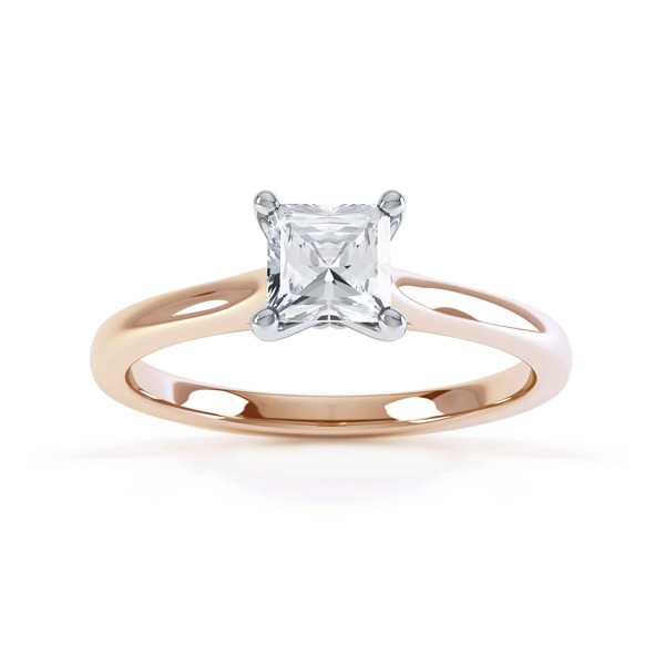 Slim Shoulder 4 Claw Princess Diamond Engagement Ring Top View In Rose Gold