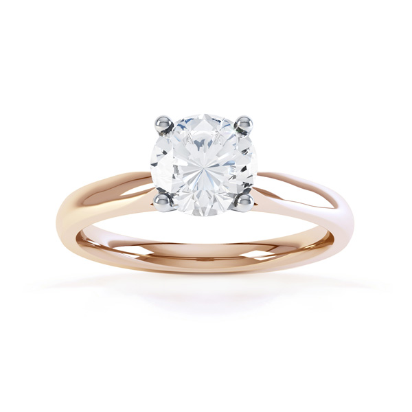 Harmony modern four claw diamond solitaire engagement ring top view rose gold