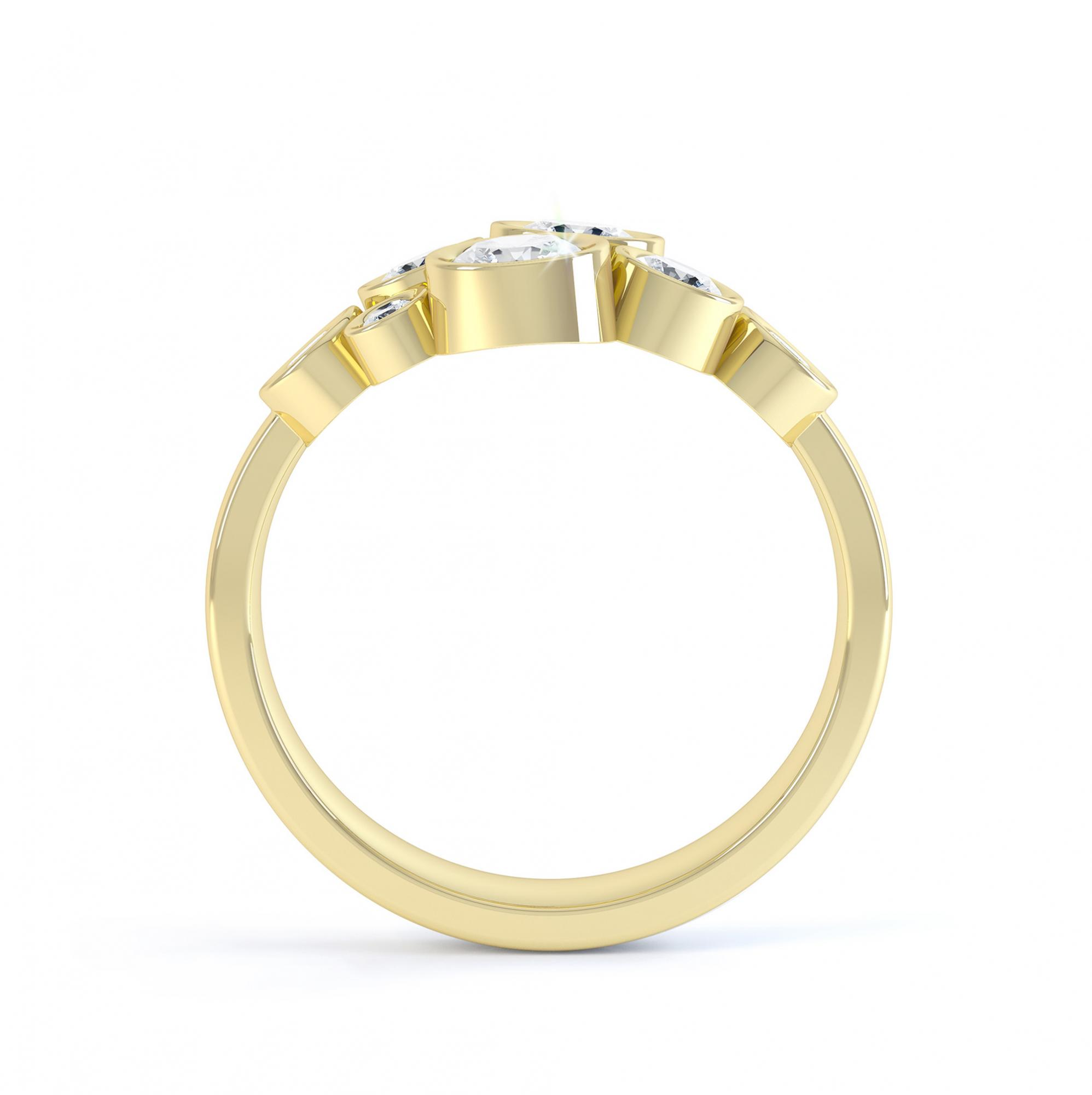 Diamond bubble ring side view yellow gold