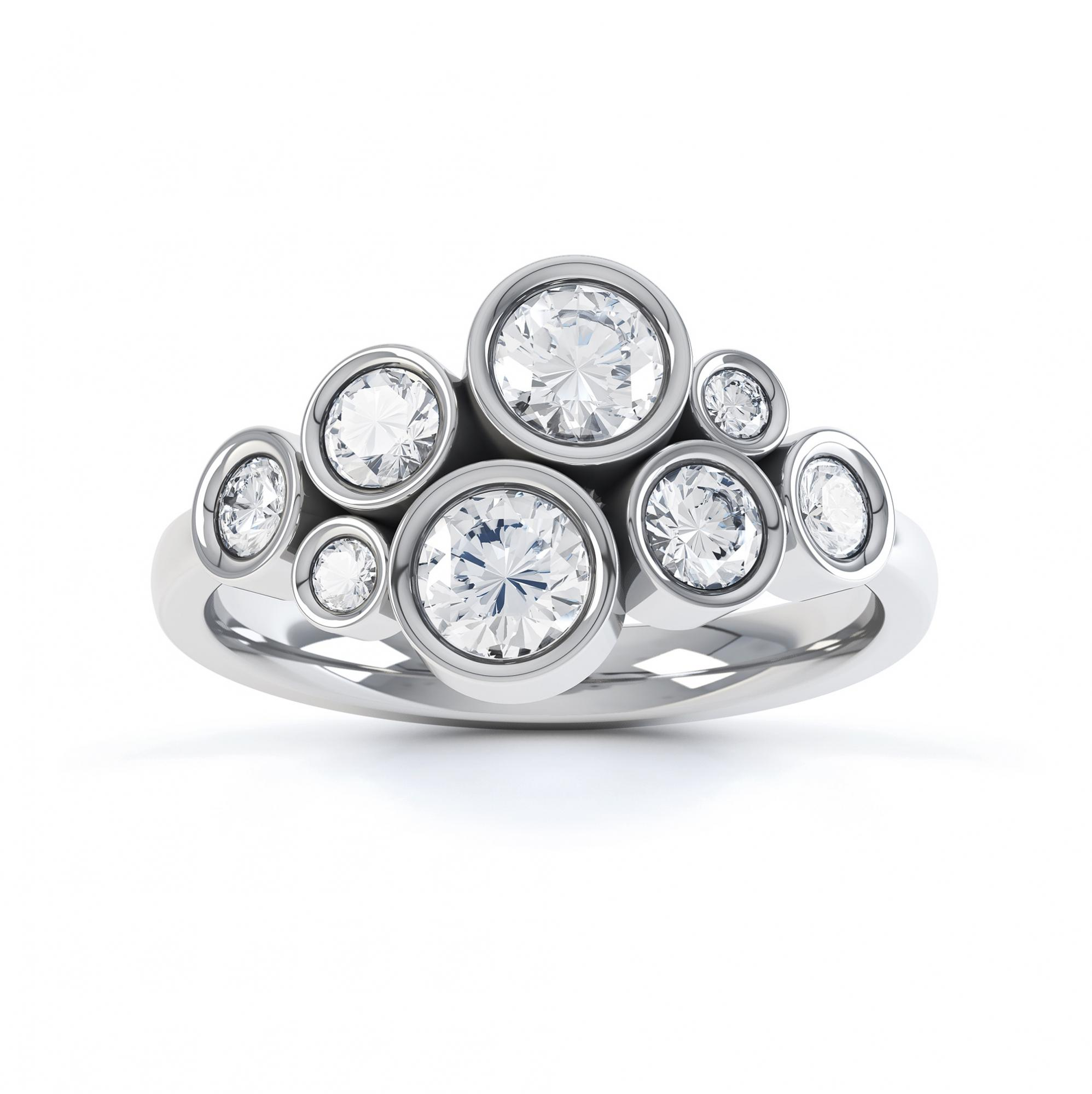 Diamond bubble ring top view platinum